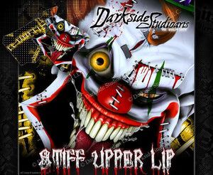 "SUZUKI 1993-2000 RM125 RM250 GRAPHICS WRAP ""STIFF UPPER LIP"" CRAZY CLOWN DECALS - Darkside Studio Arts LLC."