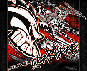 "CAN-AM RENEGADE GRAPHICS ""GEAR HEAD"" WRAP DECAL KIT DESIGNED FOR A RED QUAD - Darkside Studio Arts LLC."