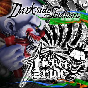 "YAMAHA YZ125 YZ250 1996-01 2-STROKE GRAPHICS KIT ""TICKET TO RIDE"" GRAPHICS WRAP - Darkside Studio Arts LLC."
