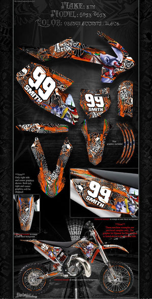 """TICKET TO RIDE"" GRAPHICS DECALS WRAP FITS KTM 2016-2017 SX50 SX65 KTM65 KTM50 - Darkside Studio Arts LLC."