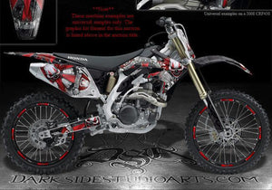 "HONDA 2004-2009 CRF250X GRAPHICS DECALS FOR OEM PLASTICS ""THE FREAK SHOW"" BLACK - Darkside Studio Arts LLC."