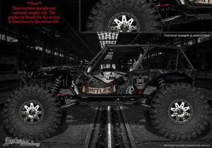 "AXIAL WRAITH ROCK RACER WRAP GRAPHIC DECAL ""THE OUTLAW"" FITS OEM BODY PARTS 1/10 - Darkside Studio Arts LLC."
