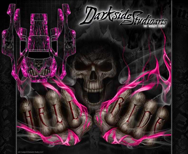 "TRAXXAS SLASH 4X4 GRAPHICS WRAP DECALS ""HELL RIDE"" DECAL SET KIT PINK FLAME - Darkside Studio Arts LLC."