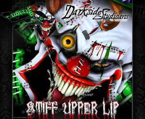 "KAWASAKI 2006-2020 KXF450 ""STIFF UPPER LIP"" GRAPHICS WRAP DECAL KIT CRAZY CLOWNS - Darkside Studio Arts LLC."