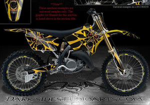 "SUZUKI 2010-2014 RMZ250 RM250 4-STROKE GRAPHICS DECALS KIT ""THE DEMONS WITHIN"" - Darkside Studio Arts LLC."