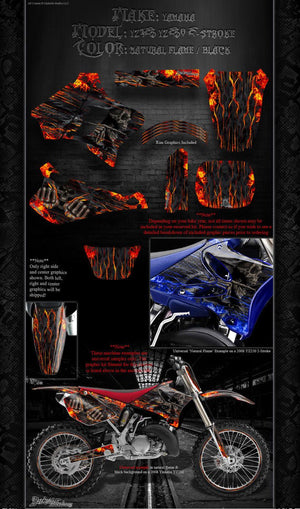 "YAMAHA 1989-1995 YZ125 & YZ250 ""HELL RIDE"" GRAPHICS WRAP FITS OEM PARTS - Darkside Studio Arts LLC."