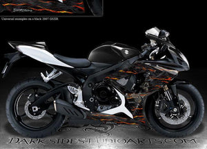 "SUZUKI 2006-2007 GSXR 600 750 ""HELL RIDE"" GRAPHICS FOR SHROUD PARTS REAL FLAME - Darkside Studio Arts LLC."