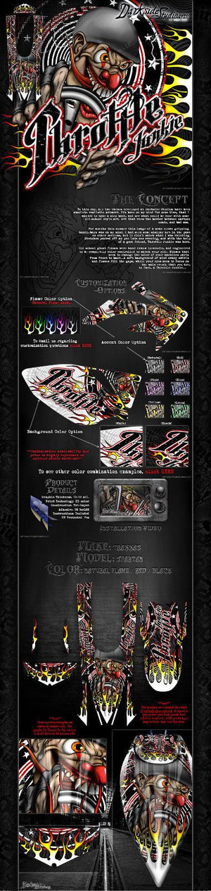 "TRAXXAS SPARTAN BOAT WRAP GRAPHICS ""THROTTLE JUNKIE"" FITS OEM PARTS DECAL KIT - Darkside Studio Arts LLC."