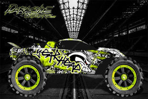 "TRAXXAS RUSTLER GRAPHICS DECALS WRAP ""GEAR HEAD"" FITS OEM BODY PARTS - Darkside Studio Arts LLC."
