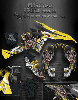 "CAN-AM RENEGADE GRAPHICS KIT ""THE JESTERS GRIN"" XC XXC COLORS BLACK YELLOW JOKER - Darkside Studio Arts LLC."