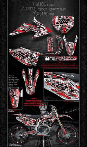 "HONDA 2003-2015 CRF150 CRF230 TRAIL GRAPHICS DECALS ""GEAR HEAD"" WRAP - Darkside Studio Arts LLC."