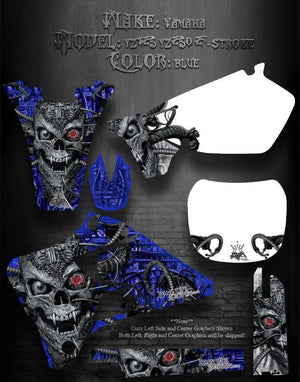 "YAMAHA YZ125 YZ250 1996-2001 2-STROKE ONLY GRAPHICS ""MACHINEHEAD"" BLUE - Darkside Studio Arts LLC."