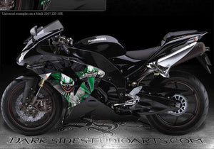 "KAWASAKI ZX-10R 2006-2007 ""THE FREAK SHOW"" GRAPHICS FOR BLACK FAIRING GREEN ACNT - Darkside Studio Arts LLC."