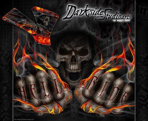 """HELL RIDE"" GRAPHICS WRAP FITS KTM 1998-2008 SX50 SX65 KTM65 KTM50 50SX 65SX - Darkside Studio Arts LLC."