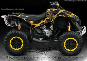 "CAN-AM RENEGADE GRAPHICS DECALS SET ""THE DEMONS WITHIN"" WRAP FOR OEM PARTS - Darkside Studio Arts LLC."