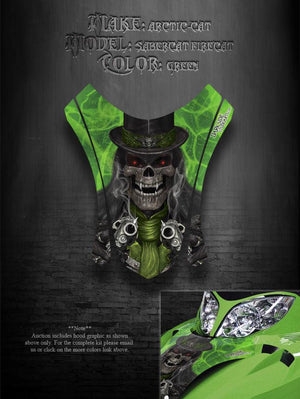 "ARCTIC CAT F7 03-06 GREEN HOOD WRAP GRAPHICS DECALS ""THE OUTLAW"" F5 FIRECAT F6 - Darkside Studio Arts LLC."