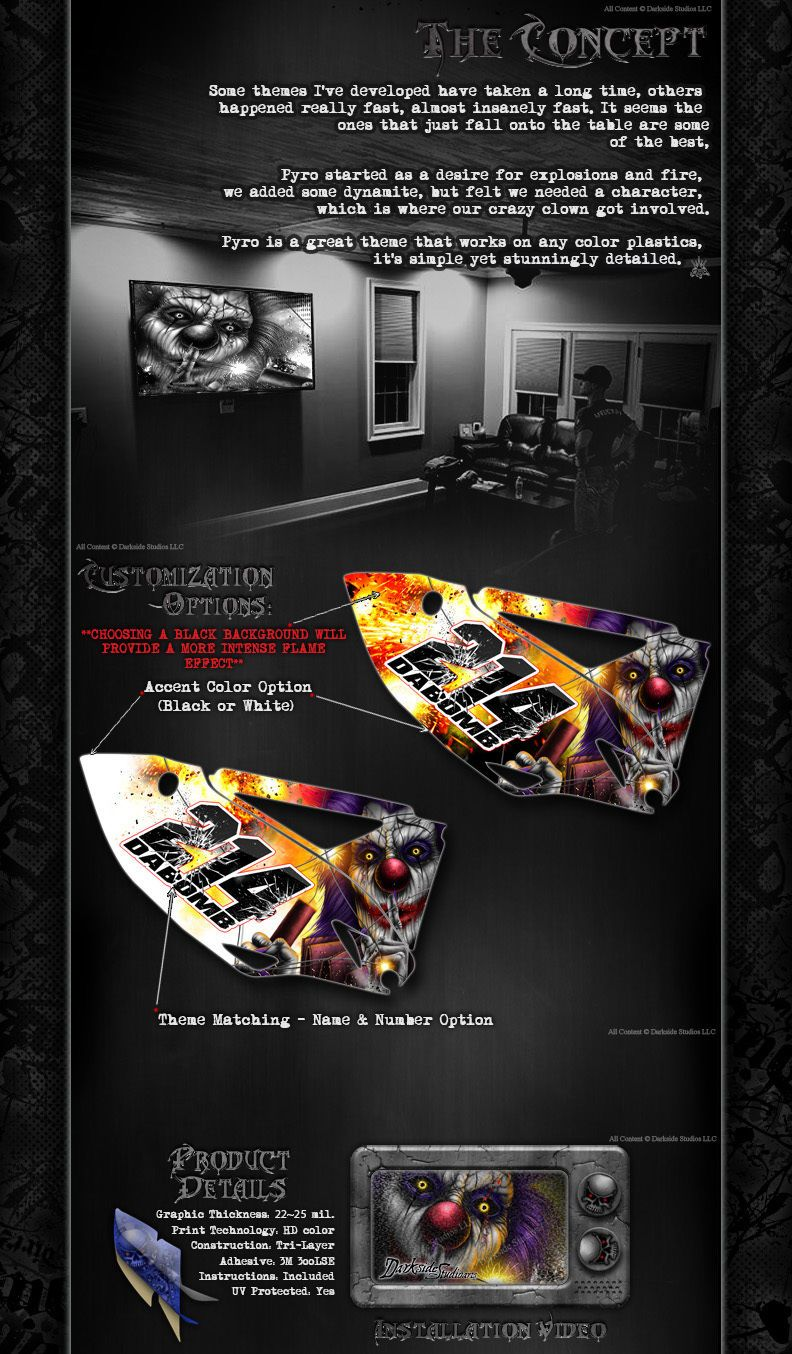 Motorcycle Accessories HONDA 2002-2008 CRF450 GRAPHICS WRAP PYRO DECAL KIT CLOWN STICKER SET