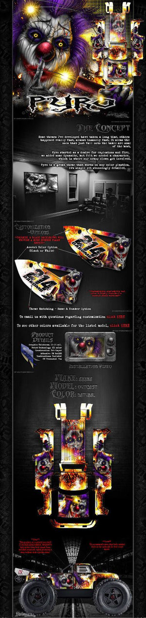 "ARRMA OUTCAST GRAPHICS WRAP DECALS ""PYRO"" FITS OEM BODY PARTS - Darkside Studio Arts LLC."