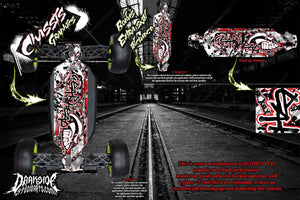 LOSI 8IGHT-T 3.0 2.0 'GEAR HEAD' CHASSIS WRAP HOP UP DECALS FITS TLR241009 RED - Darkside Studio Arts LLC.
