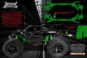 TRAXXAS X-MAXX CHASSIS / SHOCK TOWER PRINTED CARBON FIBER GRAPHICS DECALS GREEN - Darkside Studio Arts LLC.