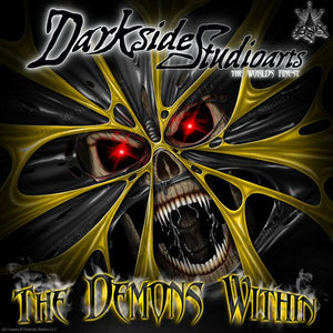 "YAMAHA BANSHEE GRAPHICS KIT ""THE DEMONS WITHIN"" FOR YELLOW FENDERS - Darkside Studio Arts LLC."