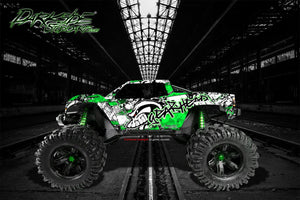 "TRAXXAS X-MAXX GRAPHICS WRAP DECALS ""GEAR HEAD"" FITS PROLINE FORD RAPTOR, CHEVY SILVERADO, BRUTE BASH & STOCK BODY - Darkside Studio Arts LLC."