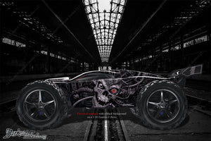 "TRAXXAS E-REVO GRAPHICS WRAP DECALS ""MACHINEHEAD"" FITS OEM LEXAN BODY PARTS - Darkside Studio Arts LLC."