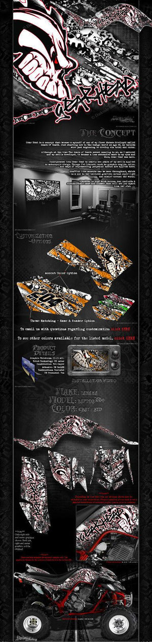 "YAMAHA RAPTOR 660 GRAPHICS KIT ""GEAR HEAD"" DECALS WRAP SPECIAL EDITION (2-TONE) - Darkside Studio Arts LLC."