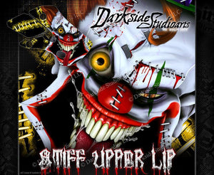 "SUZUKI 1995-2016 RM65 RM80 RM85 GRAPHICS WRAP ""STIFF UPPER LIP"" CLOWN DECALS - Darkside Studio Arts LLC."