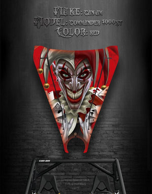"CAN-AM COMMANDER 1000XT HOOD GRAPHICS ""THE JESTERS GRIN "" RED - Darkside Studio Arts LLC."