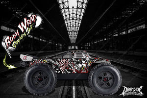 "ARRMA OUTCAST GRAPHICS WRAP ""WAR MACHINE"" HOP UP DECAL KIT FOR OEM BODY PARTS - Darkside Studio Arts LLC."