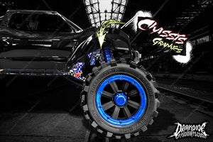 TRAXXAS X-MAXX CHASSIS / SHOCK TOWER HOP UP 'LUCKY' GRAPHICS WRAP DECALS BLUE - Darkside Studio Arts LLC.