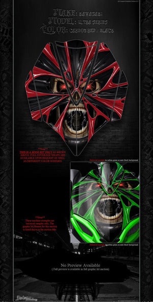 KAWASAKI JETSKI ULTRA SERIES 'THE DEMONS WITHIN' HOOD WRAP SKIN DECAL SET - Darkside Studio Arts LLC.