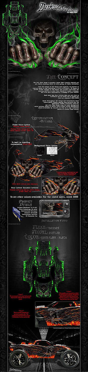 "TRAXXAS RUSTLER GRAPHICS WRAP DECAL KIT ""HELL RIDE"" FITS OEM BODY AND PARTS - Darkside Studio Arts LLC."