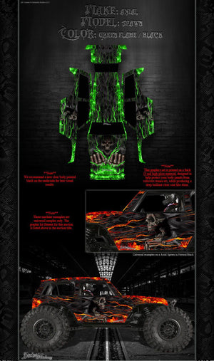 "AXIAL WRAITH SPAWN BODY GRAPHICS WRAP DECAL KIT ""HELL RIDE"" FITS OEM PARTS - Darkside Studio Arts LLC."