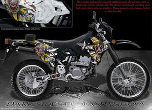 "SUZUKI 2000-2020 DRZ400 DRZ400SM DECALS ""THE JESTERS GRIN"" GRAPHICS KIT BLK YLW - Darkside Studio Arts LLC."