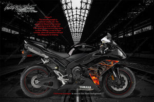 "YAMAHA 2002-2014 YZF-R1 ""HELL RIDE"" GRAPHICS WRAP FOR MID SHROUD COWLING FAIRING - Darkside Studio Arts LLC."