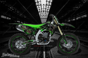 "KAWASAKI 1988-2004 KX500 ""HELL RIDE"" GRAPHICS WRAP DECAL KIT FITS OEM PARTS - Darkside Studio Arts LLC."