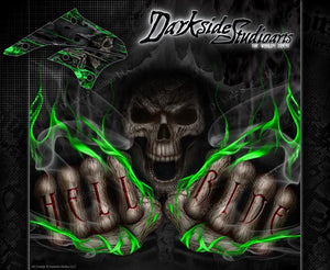 "KAWASAKI 2008-2012 KLX400 KLX450 ""HELL RIDE"" GRAPHICS WRAP DECALS FOR OEM PARTS - Darkside Studio Arts LLC."