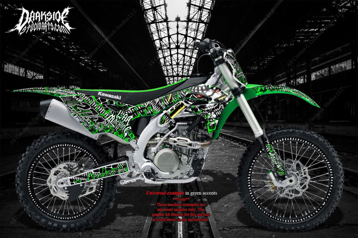 "KAWASAKI 2006-2018 KXF450 ""WAR MACHINE"" GRAPHICS WRAP DECAL KIT FITS OEM PARTS - Darkside Studio Arts LLC."