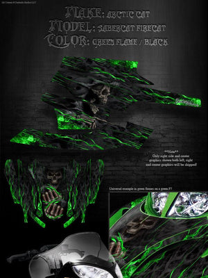 "ARCTIC CAT ""HELL RIDE"" WRAP GRAPHICS DECALS KIT FIRECAT F5 F6 F7 SABERCAT 03-06 - Darkside Studio Arts LLC."