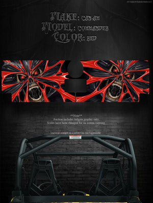 "CAN-AM COMMANDER TAILGATE GRAPHIC ACCESSORY ""THE DEMONS WITHIN"" VIPER RED DECALS - Darkside Studio Arts LLC."