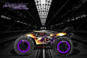 "REDCAT RACING TR-MT8E WRAP GRAPHICS DECALS ""PYRO"" FITS OEM BODY PARTS - Darkside Studio Arts LLC."
