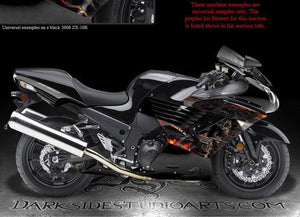 "KAWASAKI ZX-14R 2007-2011 ""HELL RIDE"" LOWER SHROUD GRAPHICS WRAP DECAL KIT 08 09 - Darkside Studio Arts LLC."