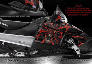 "POLARIS 2005-11 WHITE SHIFT IQ RMK DRAGON GRAPHICS ""THE DEMONS WITHIN"" CARBON - Darkside Studio Arts LLC."