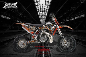 """WAR MACHINE"" GRAPHICS WRAP FITS KTM 2009-2015 50SX 65SX KTM65 KTM50 SX65 SX50 - Darkside Studio Arts LLC."