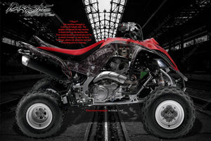 "YAMAHA YFZ450 2014-2015 ""THE OUTLAW"" GRAPHICS DECALS WRAP YFZ450 WHITE / RED - Darkside Studio Arts LLC."