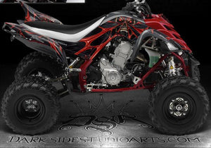 "YAMAHA 2006-2012 RAPTOR 700 ""THE DEMONS WITHIN"" ORANGE GRAPHICS KIT DECAL SET - Darkside Studio Arts LLC."
