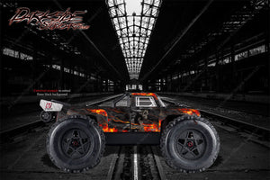 "ARRMA OUTCAST GRAPHICS WRAP DECALS ""HELL RIDE"" FITS OEM BODY PARTS ORANGE FLAME - Darkside Studio Arts LLC."