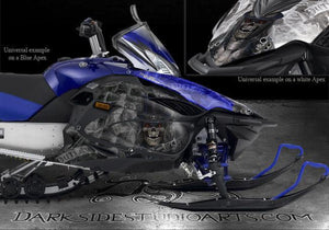 "YAMAHA APEX 06-10 SNOWMOBILE BLUE MODEL GRAPHICS WRAP ""THE OUTLAW"" DECALS SKULLS - Darkside Studio Arts LLC."